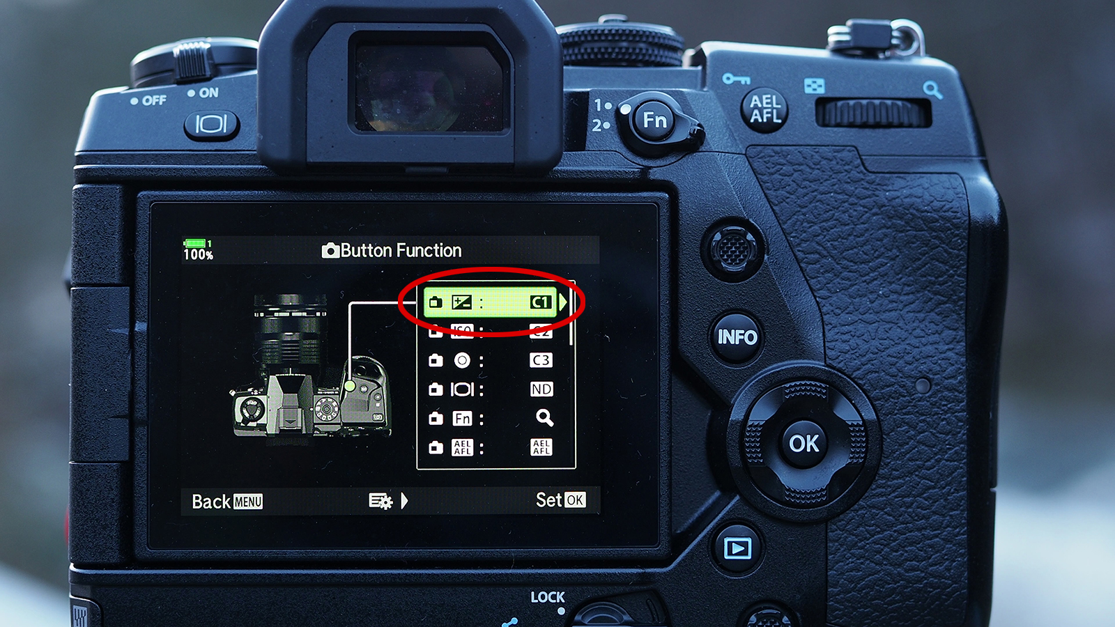 "Assing particular button to ""C1"" mode - my preference ""Exposure compensation"""