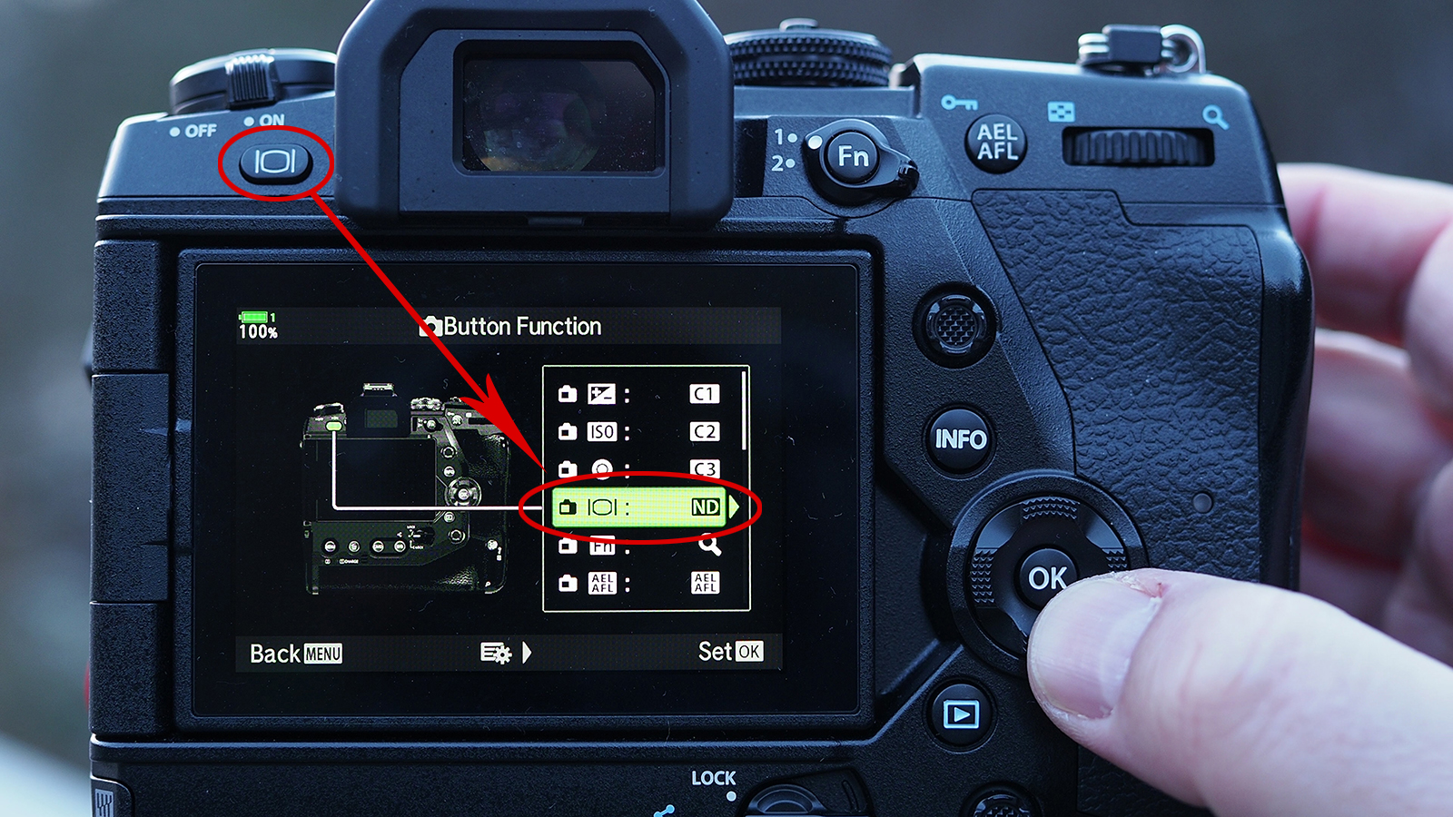 Assign the ND filter strenght to your favorite button - my choice above
