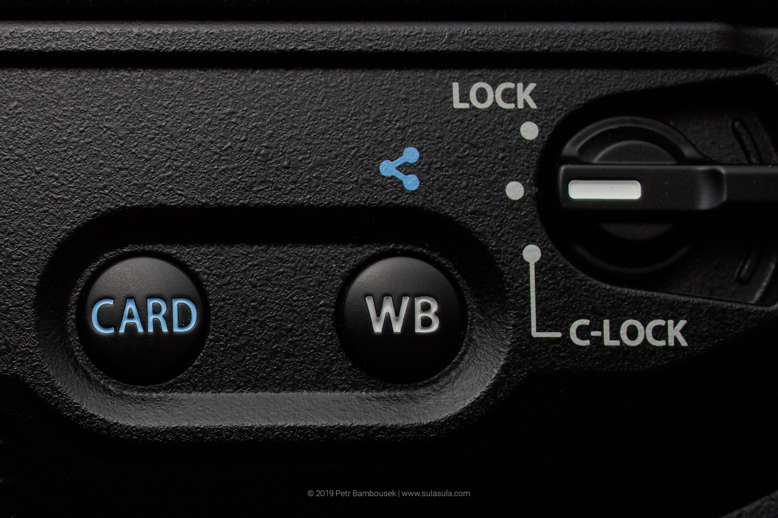 Card selection button (left). White balance button (right) - re-assigned to C4 (Pro capture) on my camera.